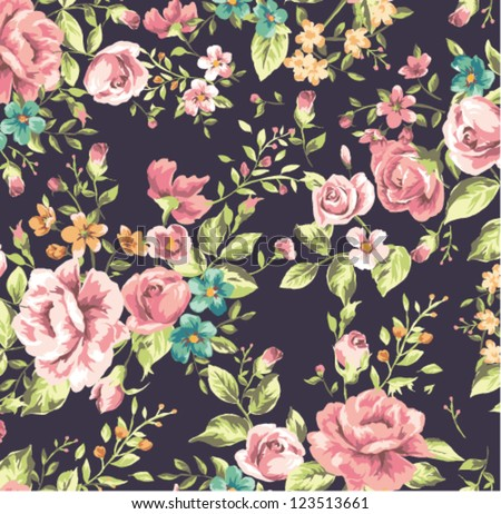 seamless classic wallpaper vintage flower pattern background