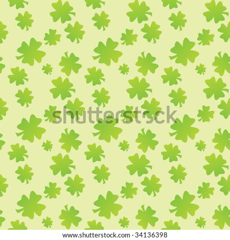 Seamless clover pattern on colored background - stock vector
