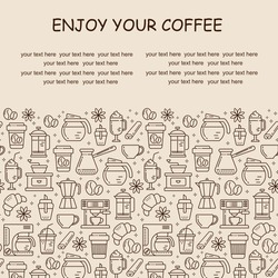 Seamless coffee pattern with line style icons. Coffee shop or cafe background, flyer, label, banner. Cafe menu.