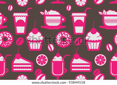 Seamless coffee shop pattern in pink and dark grey colors