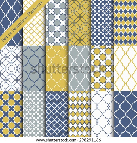 Seamless color backgrounds collection. Set of tile and lattice patterns.Blue and yellow vector illustrations.