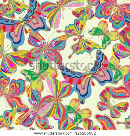 Seamless color butterfly background for design, vector