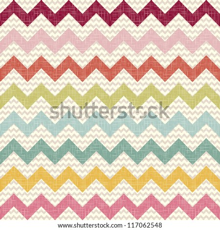 Seamless color chevron pattern on linen texture. Zigzag vector background