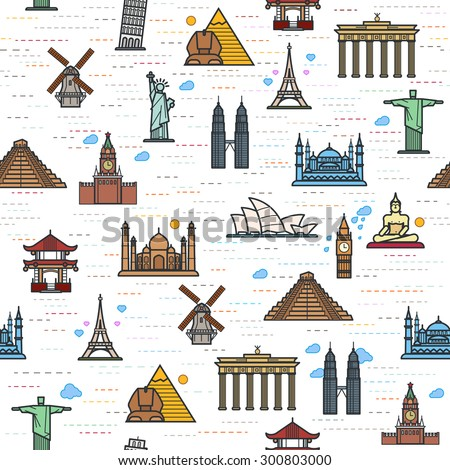 Seamless color pattern of the attractions of the world, outline drawing for your application. The most famous place for travel