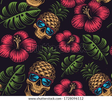 Seamless color pattern on the Hawaiian theme with pineapple skull on dark background
