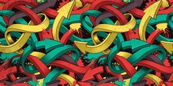Seamless colorful background of Graffiti on dark background.