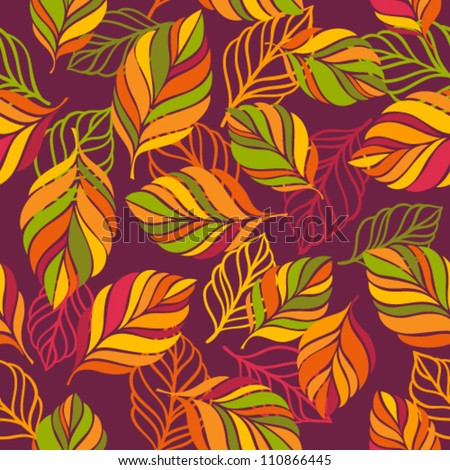 Seamless colorful background with leaves. Background for your design wallpapers, pattern fills, web page, surface textures