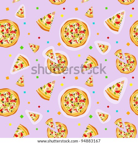 Seamless colorful cartoon pizza texture with confetti