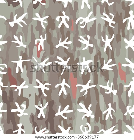 seamless colorful cartoon random men on casual camouflage background