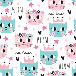 seamless colorful cat pattern vector illustration