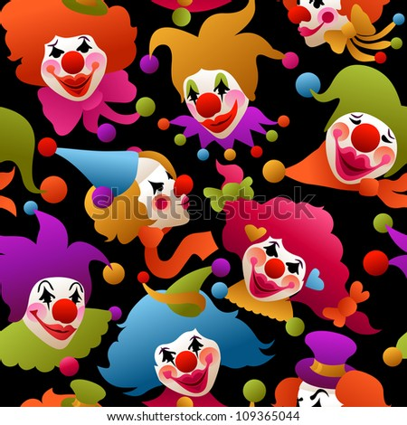 seamless - colorful circus clowns wearing funny hats and accessories