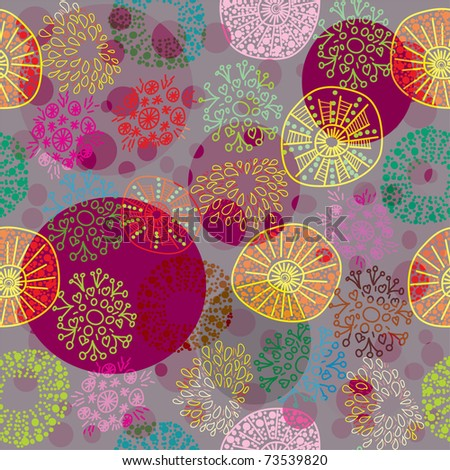 seamless colorful floral pattern in cartoon stile