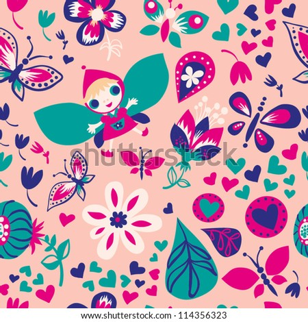 Seamless colorful floral pattern with cute girl