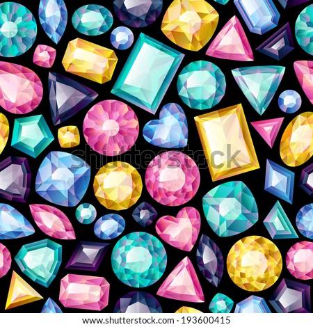Seamless colorful gemstones background on black Jewels pattern