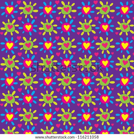 Seamless colorful heart vector pattern / Cheerful art