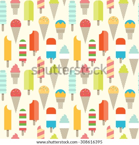 Seamless colorful ice cream pattern. - stock vector