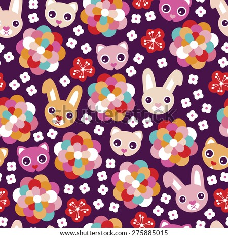seamless colorful kids animal