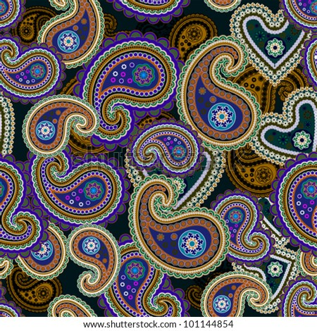 Seamless colorful paisley background