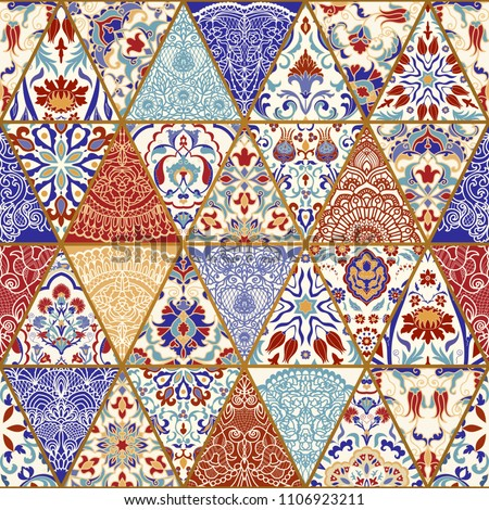 Seamless colorful patchwork. Vintage multicolor pattern in turkish style. Hand drawn background. Islam, Arabic, Indian, ottoman motifs. Vector