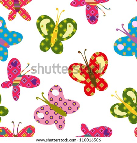 seamless colorful pattern with beautiful bright butterflies