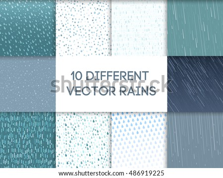 Seamless colorful rain drops pattern background vector background. Blue waterdrop rainy element design