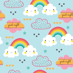 Seamless colorful rainbow and cloud illustration background pattern in vector