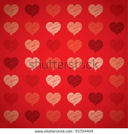 Seamless colorful red hearts pattern, Valentine's day concept, vector illustration