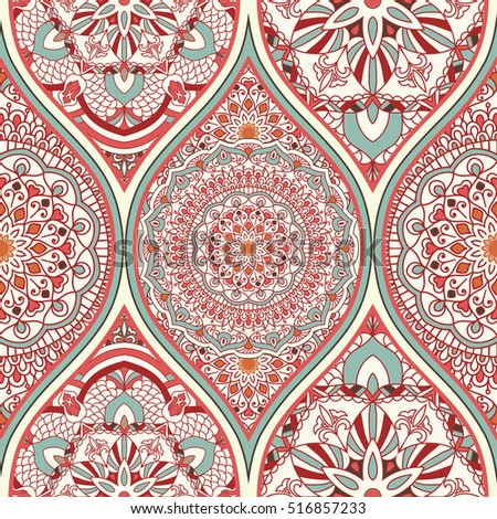 Seamless colorful turkish pattern. Endless pattern can be used for ceramic tile, wallpaper, linoleum, textile, invitation card, wrapping, web page background. Traditional Turkish ornament