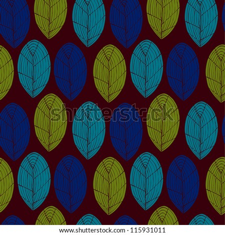 Seamless colorful vintage pattern. Decorative endless texture with stylized leaves. Template for design wrapping paper, covers, textile, greeting cards