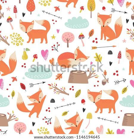 Seamless comic cartoon cute fox vector pattern. Hand draw doodle art illustration. Kids background