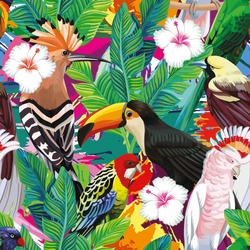 Seamless composition of tropical bird toucan, parrot, hoopoe and palm leaves with white hibiscus flowers on multicolor background painted with a brush