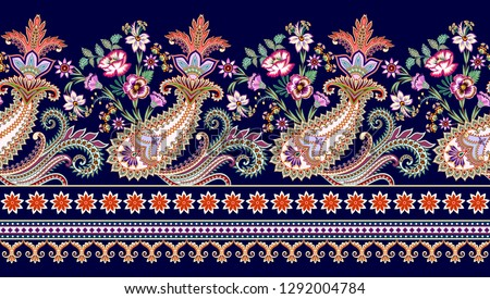 seamless contrast border in east style with openwork curls, decorative stripes, ornate paisley, bouquet flowers on a blue background