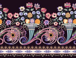 seamless contrast  border with horn of plenty , decorated bunch of flowers, decorative leaves and fruits, paisley, curls