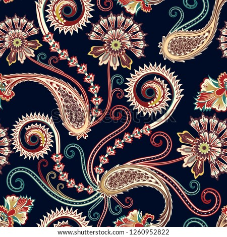 seamless contrast pattern  with ornate paisley,decorative spiral, curls in light yellow and burgundy tint on a dark background