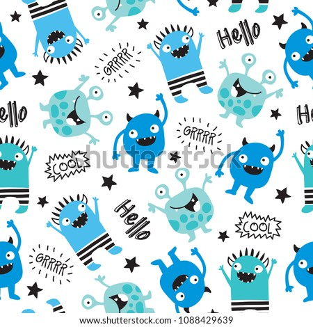 stock-vector-seamless-cool-monsters-pattern-vector-illustration