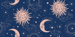 Seamless cosmic pattern with sun and crescent moon, vintage background for astrology and tarot. Sun with face and stars on a blue background. Vector illustration.