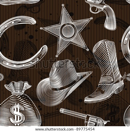seamless cowboy pattern in engraving style - vector illustration
