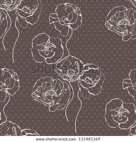 Seamless creative  pattern with decorative poppy flowers. Vintage vector illustration.