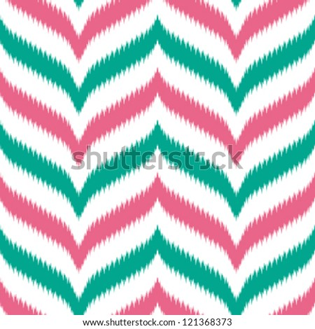 Seamless curved and pointy chevron background in ikat weave pattern - stock vector