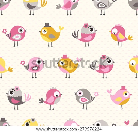 seamless cute birds colorful