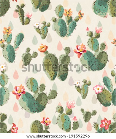seamless cute cactus print pattern background