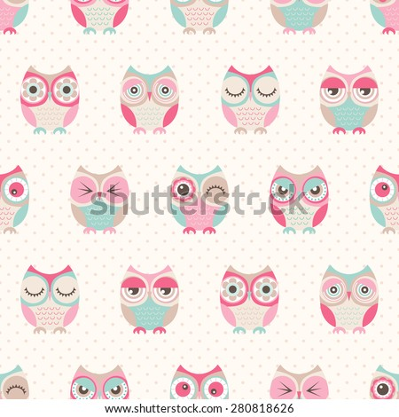 seamless cute cartoon owls birds pattern background