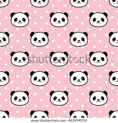seamless cute cartoon panda