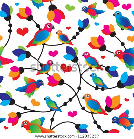 Seamless cute colorful parrot bird tropical illustration background pattern in vector