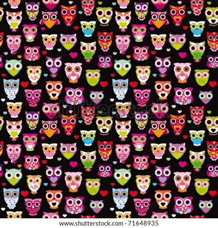 Seamless cute colourfull owl kids pattern background in vector - stock ...