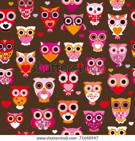 Seamless cute colourfull retro owl pattern background in vector