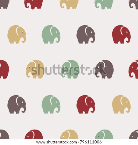 Seamless cute elephants pattern. Vector simple background.