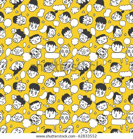 seamless cute  face pattern