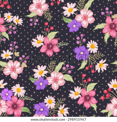 seamless cute floral vector