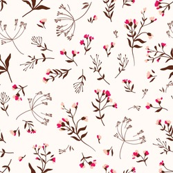 Seamless cute floral vector pattern background. Flower pattern on white background